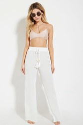 Forever 21 Cover Up Drawstring Pants Cream