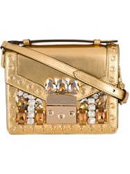 Gedebe Crystal Embellished Clutch Women Leather Brass Glass One Size Metallic