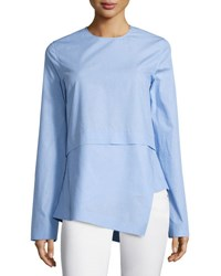 Cedric Charlier Long Sleeve Asymmetric Cotton Top Viola