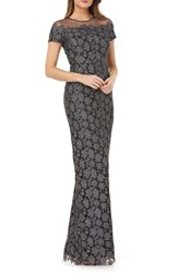 Js Collections Illusion Metallic Lace Gown Gunmetal