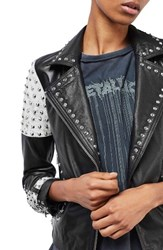 Topshop Women's Maddox Studded Leather Jacket