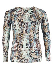 Chesca Plus Size Sequin Print Jersey Long Sleeve Top Green