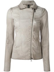 Giorgio Brato Zip Up Biker Jacket Nude Neutrals