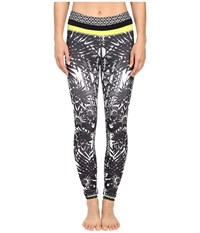 Pink Lotus Floral Burst Locate Printed Leggings With Contrast Band Black White Women's Casual Pants