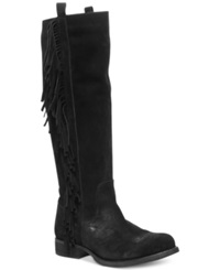 Steven By Steve Madden Dalton Tall Fringe Boots Women's Shoes Black Suede