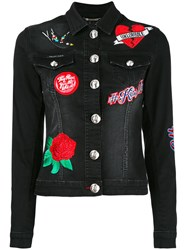 Philipp Plein Embroidered Denim Jacket Women Cotton Spandex Elastane S Black