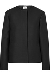 The Row Raban Wool And Silk Blend Crepe Jacket Black