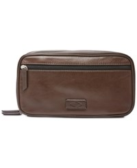 Fossil Men's Leather Double Zip Shave Kit Brown