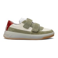 Acne Studios Green And Beige Suede Perey Strap Sneakers