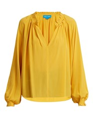 Mih Jeans Sidi V Neck Pleated Silk Crepe Blouse Yellow