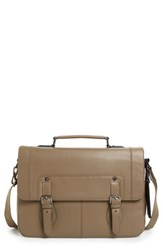 Men's Ted Baker London 'Miamore' Leather Briefcase Beige Taupe