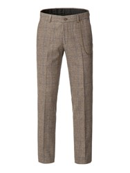 Gibson Men's Fawn Check With Blue Overcheck Trouser Taupe