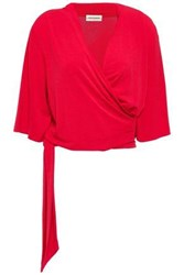 By Malene Birger Woman Wrap Effect Belted Crepe Top Crimson