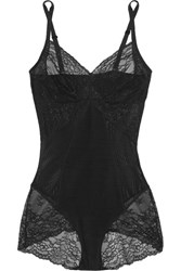 Spanx Spotlight Lace Paneled Stretch Mesh Bodysuit Black