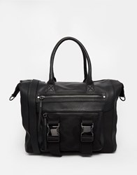 Aldo Large Tote Bag With Front Buckle Detail Black