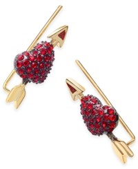 Kate Spade New York Gold Tone Crystal Heart Earring Crawlers Red
