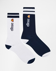 Ellesse 2 Pack Crew Socks In Longer Length Multi