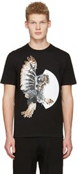 Neil Barrett Black Mechanical Owl T Shirt