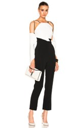 Roland Mouret Benford Stretch Viscose Jumpsuit In Black White Black White