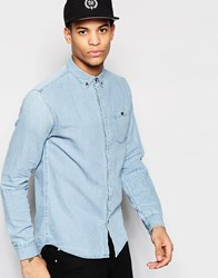Pull And Bear Pullandbear Denim Shirt In Light Wash Blue Blue