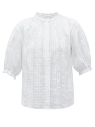 Loup Charmant Pico Jacquard Stripe Cotton Blouse White