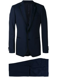 Lardini Contrasting Piping Two Piece Suit Blue