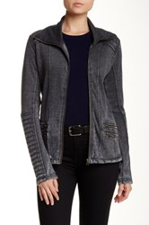 Blanc Noir Asymmetric Zip Front Burnout Fleece Moto Jacket Gray