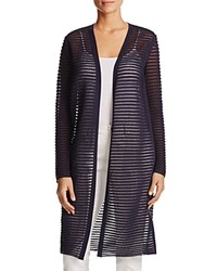 Lafayette 148 New York Sheer Stripe Long Cardigan Ink