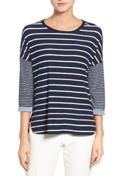 Gibson Women's Stripe A Line Tee Navy White Stripe