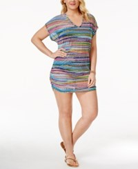 Anne Cole Plus Size Mesh Cover Up Tunic Women's Swimsuit Multi