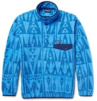 Patagonia Printed Synchilla Snap T Fleece Sweatshirt Light Blue