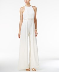 Jill Stuart Popover Wide Leg Slit Jumpsuit Off White
