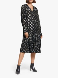 And Or Diamond Print Dress Black
