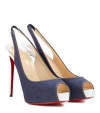 Christian Louboutin Private Number Open Toe Slingback Pumps Blue
