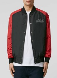 Topman Hero's Heroine Black Bomber Jacket With Red Sleeves Yellow