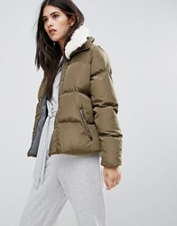 Missguided Khaki Padded Faux Shearling Collar Bomber Jacket Green