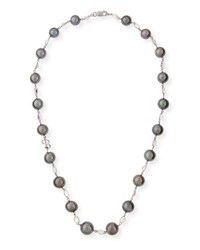 Belpearl Black Tahitian Pearl And Moonstone Station Necklace In 18K White Gold