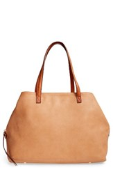 Sole Society Faux Leather Tote Brown Camel