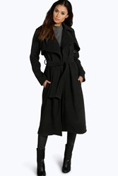 Boohoo Longline Belted Wool Look Trench Black