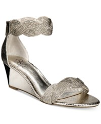 Adrianna Papell Adelaide Ankle Strap Wedge Evening Sandals Women's Shoes Gunmetal