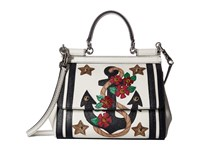 Dolce And Gabbana Small Miss Sicily Bag With Embroidered Anchor Studs White Blue