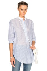 Jenni Kayne Collarless Tunic In Blue Stripes Blue Stripes