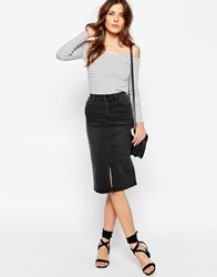 Vila Denim Pencil Skirt Black