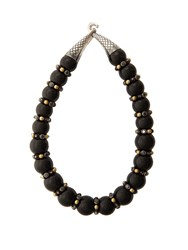 Bottega Veneta Onyx And Cubic Zirconia Necklace Black