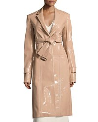 Calvin Klein Patent Leather Belted Trench Coat Beige