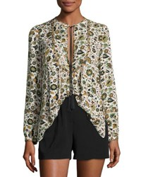 A.L.C. Hari Long Sleeve Floral Silk Top White Multicolor White Pattern