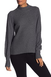 Vince Camuto Mix Cable Balloon Sleeve Cotton Blend Sweater Med Htr Gr