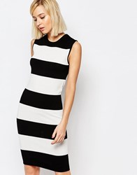 Selected Penna Sleeveless Knitted Dress Black Stripe