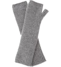 Johnstons Fingerless Long Cashmere Gloves Light Grey