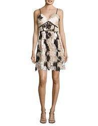 Romeo And Juliet Couture Sleeveless Floral Lace Fit Flare Dress Beige